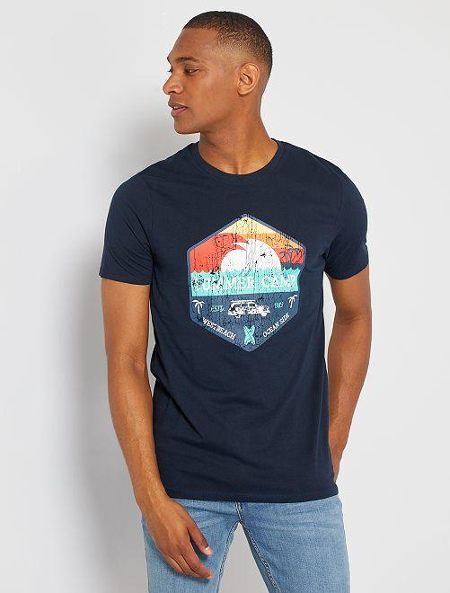 T-shirt éco-conçu 'summer camp'                                                                                                                                                                                                                                                                 marine summer