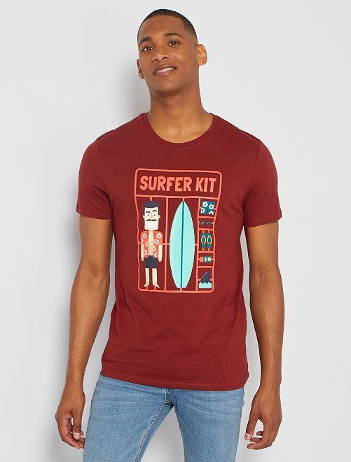 T-shirt éco-conçu 'surfeur'                                                                                                                                                                                                                                                                 bordeaux surf