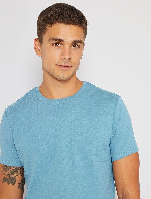 T-shirt éco-conçu texturé                                                                                         bleu