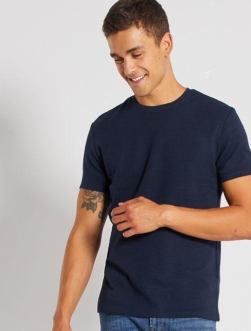 T-shirt éco-conçu texturé                                                                                         bleu marine