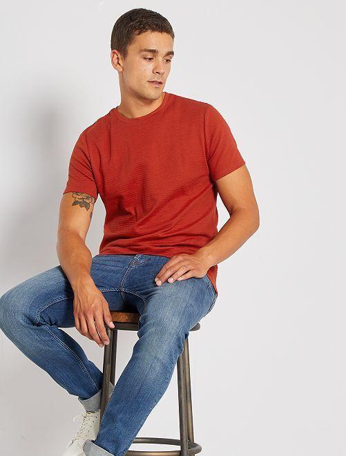 T-shirt éco-conçu texturé                     orange ketchup