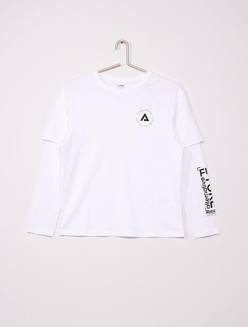 T-shirt effet 2 en 1                             blanc