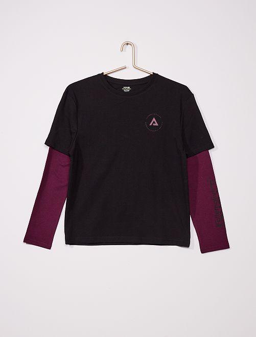 T-shirt effet 2 en 1                                         noir