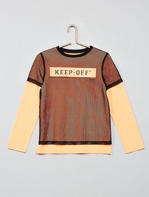 T-shirt effet 2 en 1                                         orange