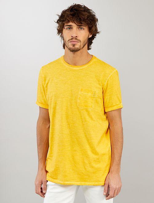 T-shirt effet délavé                                         jaune