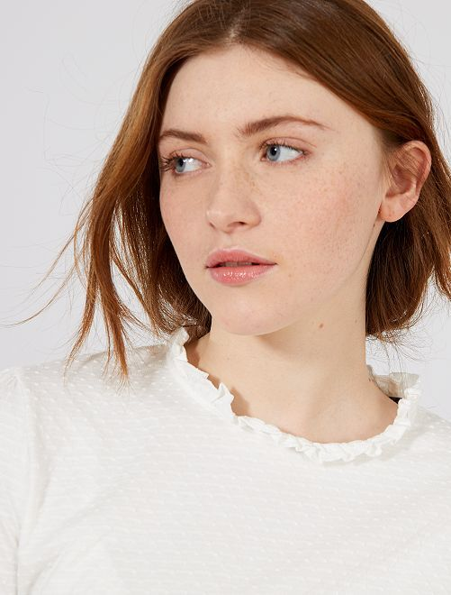 T-shirt effet plumetis avec col volanté                                         blanc Femme