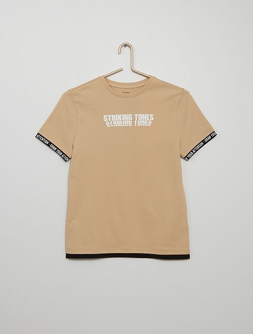 T-shirt effet superposé                                         BEIGE