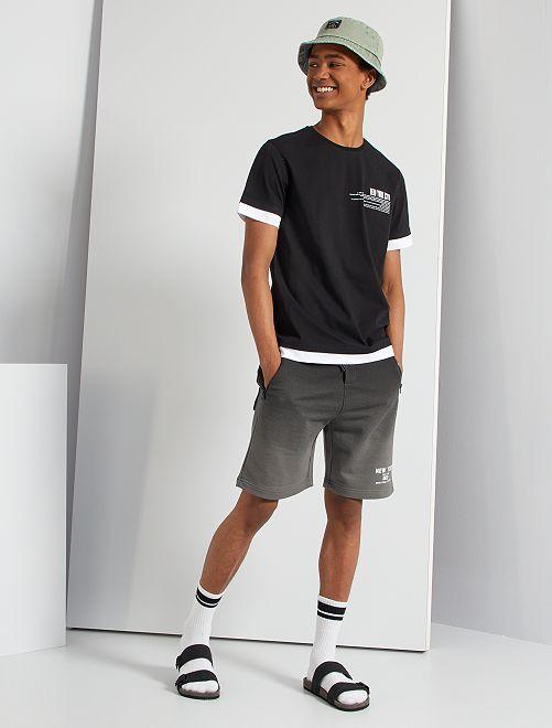 T-shirt effet superposé                             noir