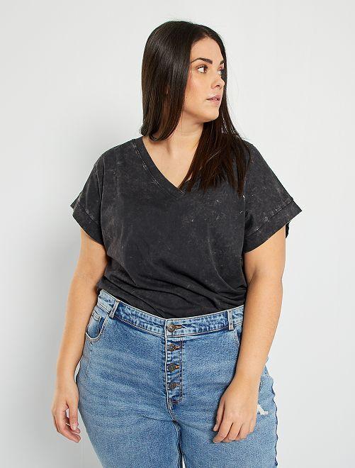 T-shirt effet usé éco-conçu                                         noir