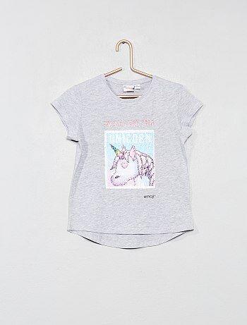 T shirt `Emoji` à sequins réversibles
