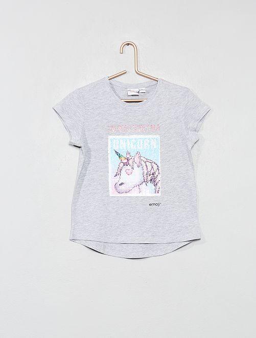 T-shirt 'Emoji' à sequins réversibles                             gris Fille