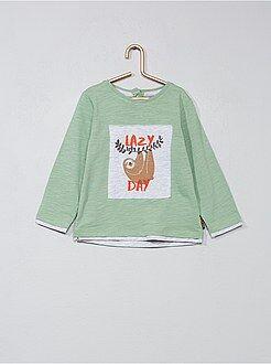 Garçon 0-36 mois - T-shirt empiècement 'paresseux' - Kiabi