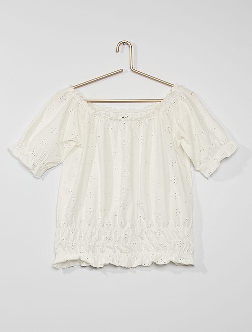 T-shirt en broderie anglaise                                                     blanc