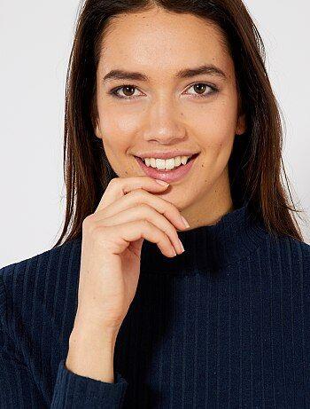 Femme du 34 au 48 - T-shirt en côtes 2x2 col cheminé - Kiabi