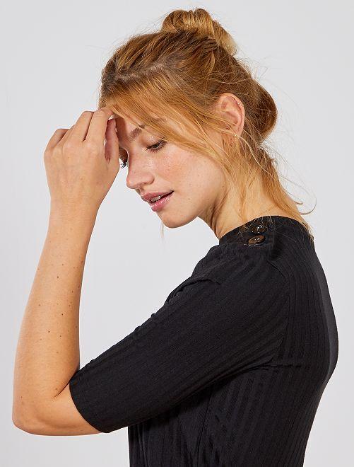T-shirt en côtes                                                                 noir Femme