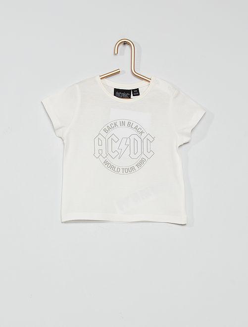 T-shirt en coton 'ACDC'                             écru