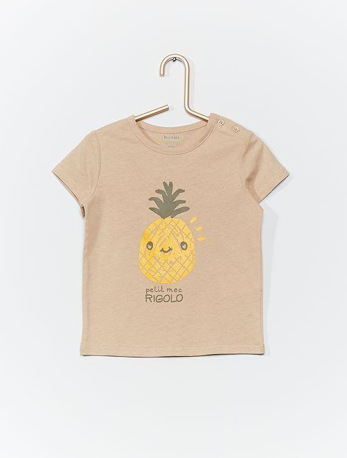 T-shirt en coton bio                                                                                                                                         beige