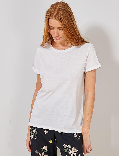 T-shirt en coton bio                                                                                                                                                                                                                             blanc Femme