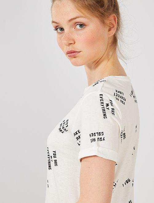 89cb8e59e6fcb T-shirt en coton bio Femme - BLANC - Kiabi - 4,00€