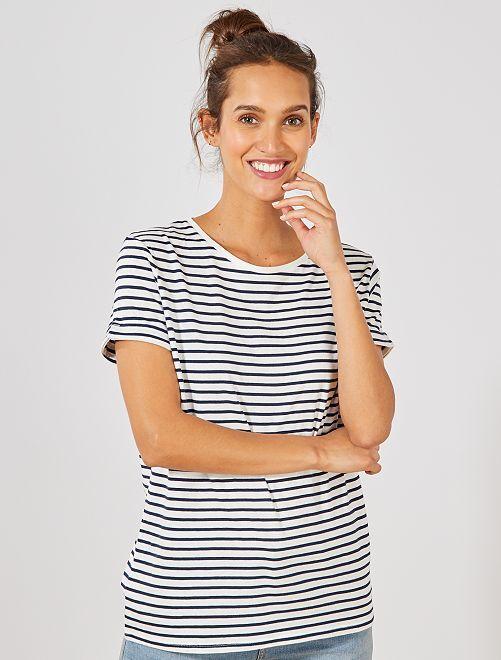 T-shirt en coton bio                                                                                                                                                                                                                 blanc rayé Femme