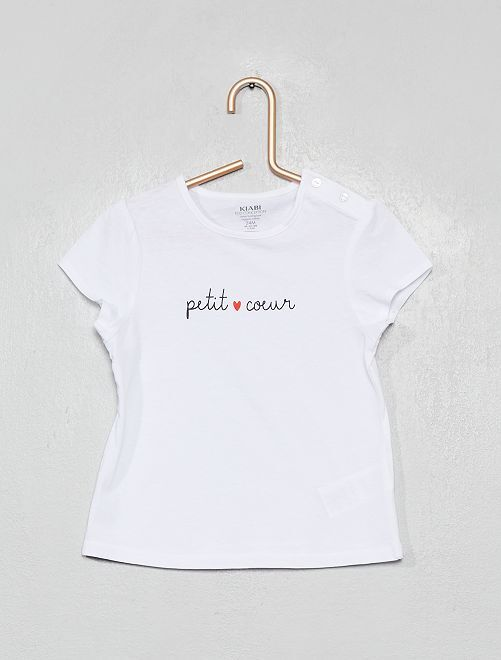 T-shirt en coton bio                                                                                         blanc/cœur
