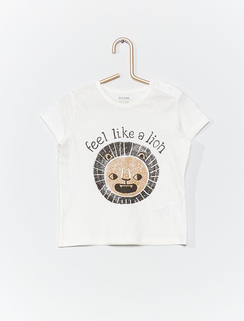T-shirt en coton bio                                                                                                                                         blanc/lion
