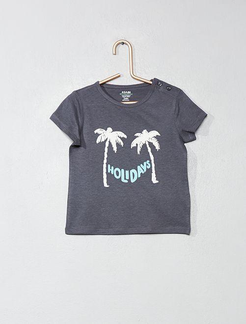 T-shirt en coton bio                                                                                                                                                                 gris/palmier