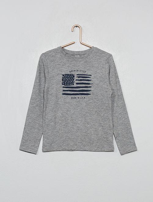T-shirt en coton bio imprimé drapeau                                         gris