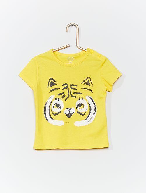 T-shirt en coton bio                                                                                                                                         jaune/tigre