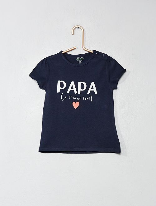 T-shirt en coton bio                                                                                                                                                                 marine/papa Bébé fille