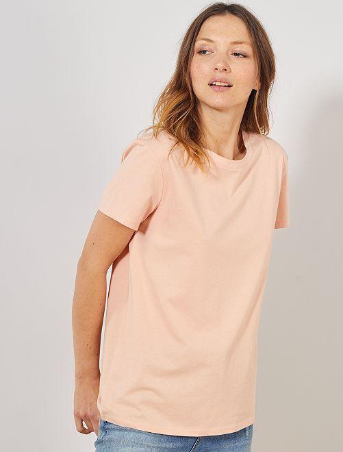 T-shirt en coton bio                                                                                                     rose clair
