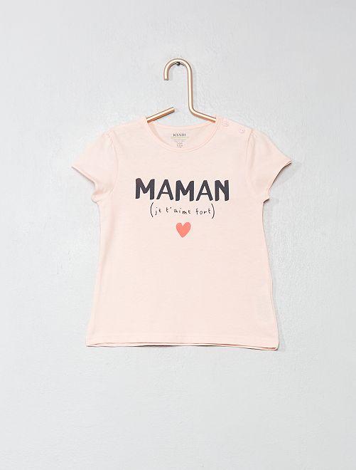 T-shirt en coton bio                                                                                                                                                                 rose/maman Bébé fille