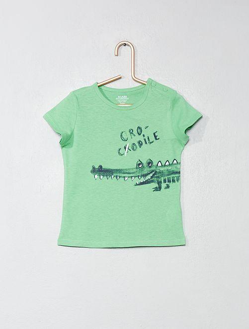 T-shirt en coton bio                                                                                                                                                                 vert/crocodile