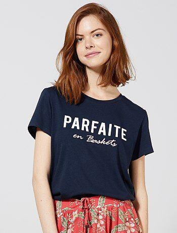 bb8c223c1c9 Femme du 34 au 48 - T-shirt en coton biologique à messages - Kiabi