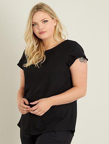 Grande taille femme - T-shirt en crêpe dos ajouré - Kiabi