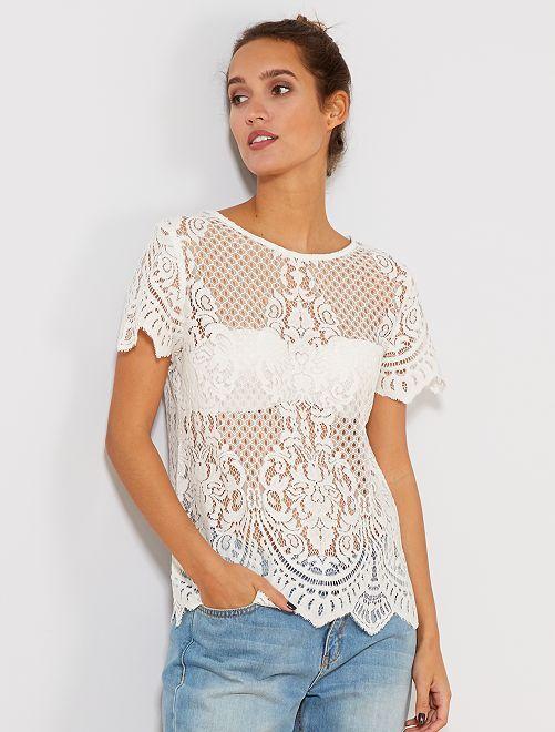 T-shirt en dentelle                                         blanc Femme