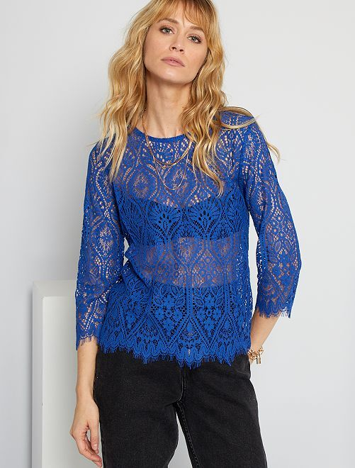 T-shirt en dentelle                                                                 bleu