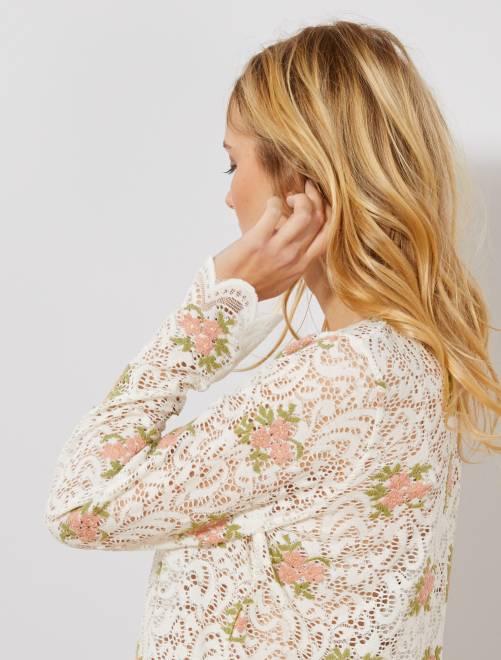 T-shirt en dentelle et broderie fleurie                                         blanc Femme