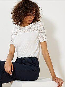 Femme du 34 au 48 - T-shirt en dentelle 'JDY' - Kiabi