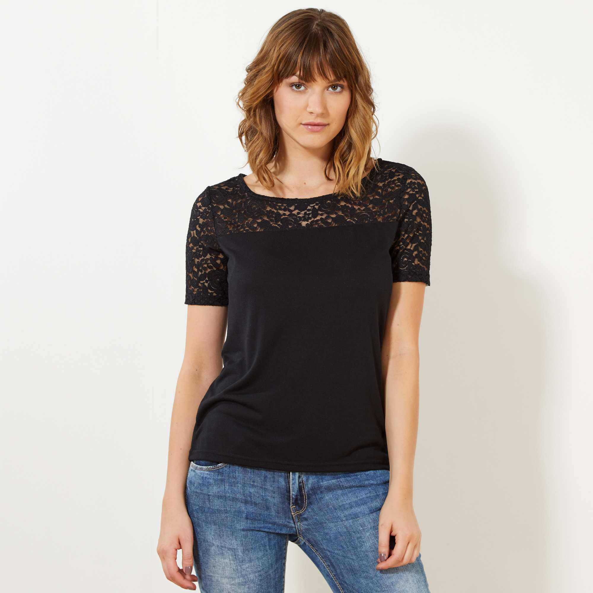 Couleur : noir, , ,, - Taille : S, , ,,Le petit T-shirt qui se mariera aussi bien à vos jeans, qu'à vos tenues plus habillées