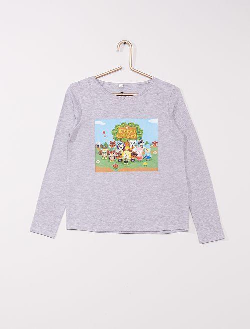 T-shirt en jersey 'Animal Crossing' de 'Nintendo'                             gris chiné