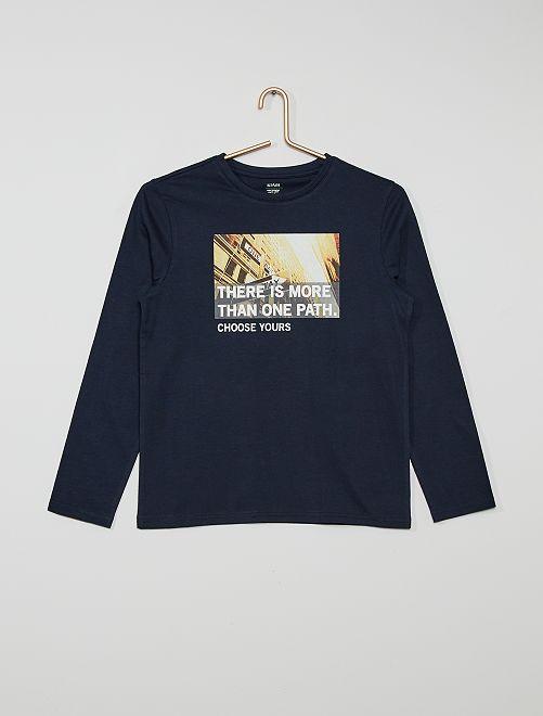 T-shirt en jersey                                                                                                                                                     bleu