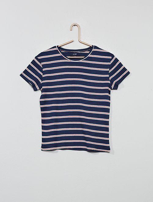 T-shirt en jersey côtelé rayé                                                                             bleu marine