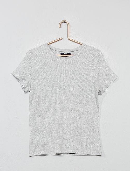 T-shirt en jersey côtelé rayé                                                                             gris