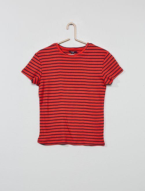 T-shirt en jersey côtelé rayé                                                                             rouge