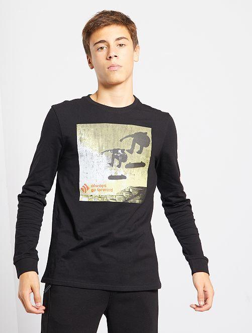 T-shirt en jersey imprimé 'skate'                                         noir