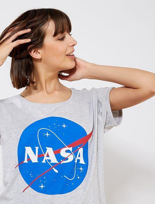 T-shirt en jersey 'NASA'                             gris