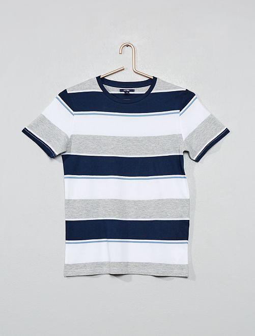 T-shirt en jersey rayé                                         bleu/gris Garçon adolescent