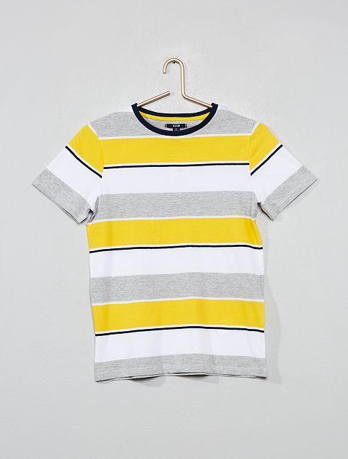 T-shirt en jersey rayé                                         jaune/gris Garçon adolescent