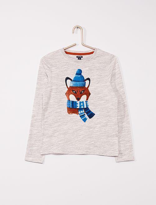T-shirt en jersey 'Renard'                                                     gris